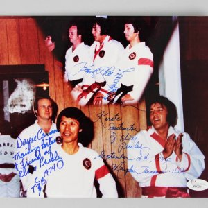 Elvis Presley Karate Instructors Kang Rhee & Wayne Carmen Signed & Inscribed 8x10 Photo - JSA Full Letter