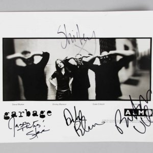 Garbage Band SIGNED Photo Shirley Manson Butch Vig Duke Erikson Steve Marker