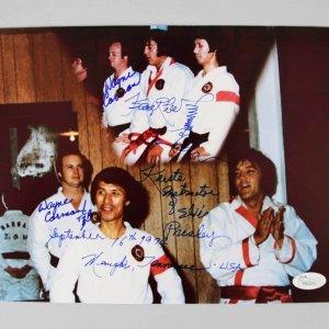 Elvis Presley Karate Instructors Kang Rhee & Wayne Carmen Signed & Inscribed 8x10 Photo - JSA Full Letter
