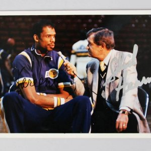 "Lakers Chick Hearn & Kareem Signed 5"" x 7"" Color Photo - JSA Full Letter"