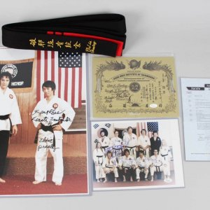 1973 Elvis Presley Special Black Belt with Signed Letter From Kang Rhee Instructor +(2) Bonus Signed Photos & Certificate JSA COA