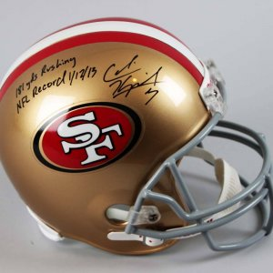 "San Francisco 49ers - Colin Kaepernick Signed Full Size Helmet Inscribed ""181 Yds Rushing NFL Record 1/12/13"""