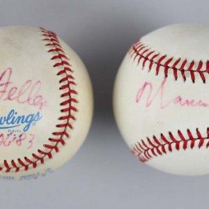 MLB Pitchers - Bob Feller & Warren Spahn Signed Baseballs - COA JSA