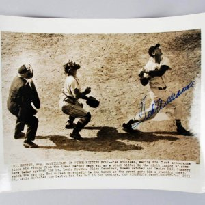 1953 Boston Red Sox Ted Williams Signed 8x10 B&W Wire Photo- JSA Full LOA