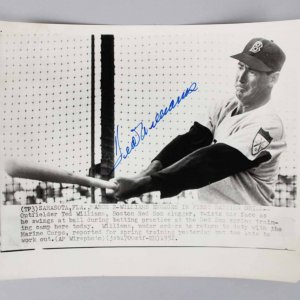 Ted Williams Signed Wire Photo - COA JSA