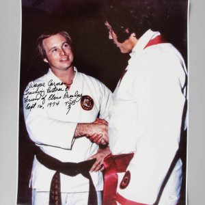 Elvis Presley Karate Instructor - Wayne Carmen Signed, Inscribed 16x20 Photo JSA COA