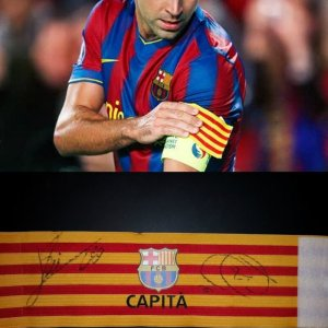 A Xavi Game-Used FC Barcelona Captain Armband & Signed by Messi and Xavi