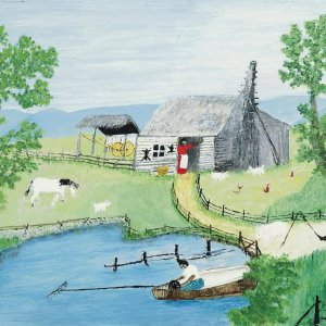 1958 Old Darkey Cabin Grandma Moses Original Artwork Signed MOSES.COPYRIGHT SYMBOL'