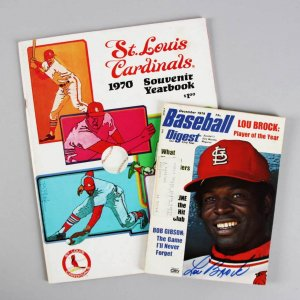 St. Louis Cardinals- Lou Brock, Bob Gibson & Steve Carlton Signed Yearbook & Magazine - JSA