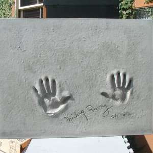 Mickey Rooney Signed & Inscribed Original Cast of Concrete Handprint by Artist Franco Vecchio