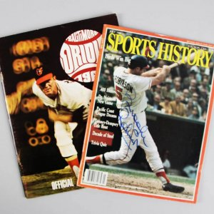 Brooks Robinson Signed Yearbook & Magazine Orioles - COA JSA
