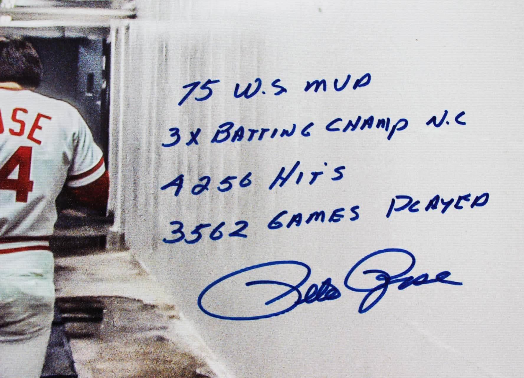 4d82fefe2bd Cincinnati Reds Pete Rose Signed & Inscribed 28×35 Canvas Art – COA Steiner