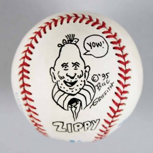 Cartoonist - Bill Griffith Signed & Hand Drawn Artwork OAL Baseball - COA JSA