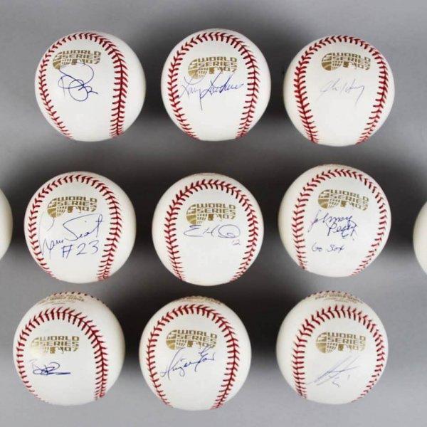 2007 Boston Red Sox Signed World Series Baseballs (11) Lot - John Henry, Johnny Pesky etc.- JSA
