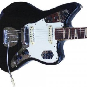 Jimi Hendrix Black Jaguar Fender Guitar Given to Him By Brian Jones-Provenance Roadie Tappy Wright