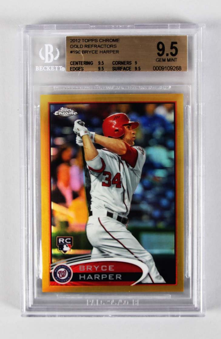 2012 Topps Chrome Nationals Bryce Harper Gold Refractor 1750 Rookie Baseball Card 196 Graded Bgs 95