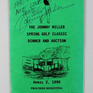 PGA Golf Pro - Johnny Miller Signed Dinner Program