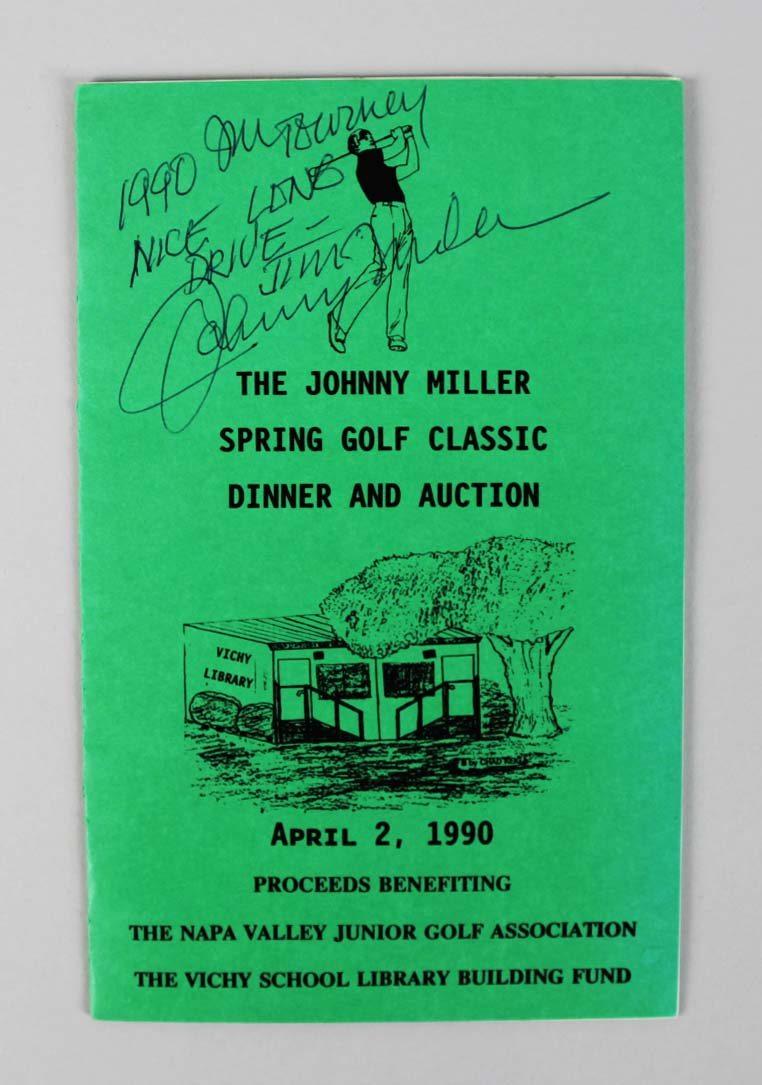 PGA Golf Pro - Johnny Miller Signed Dinner Program