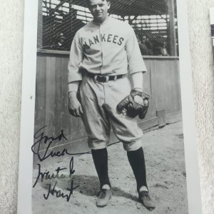 Waite Hoyt New York Yankees Vintage Signed and Inscribed 5x7 Photo JSA