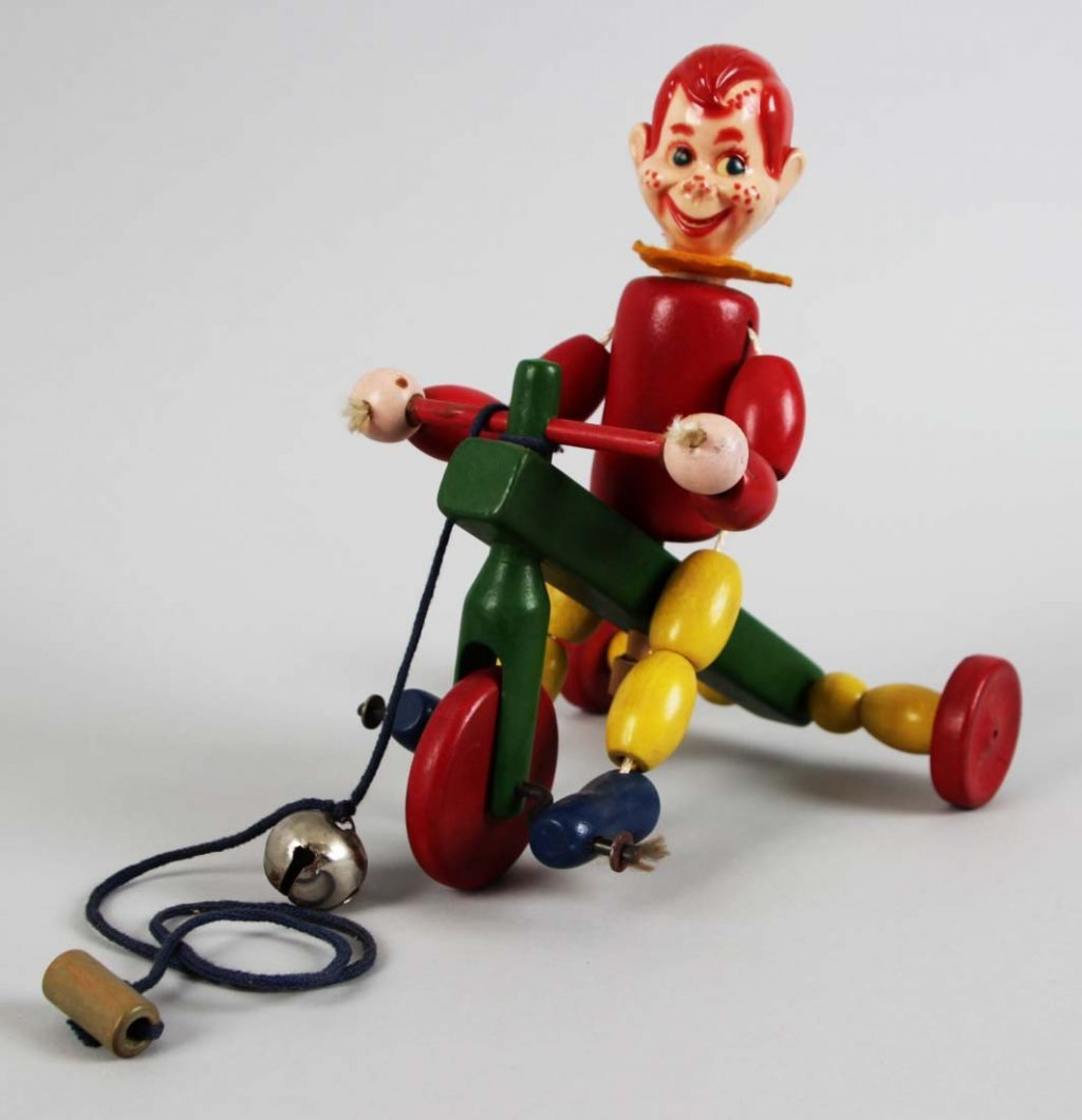 1947 Vintage Howdy Doody Wooden Tricycle Toy by Kohner Brothers with Box