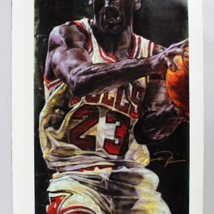 Chicago Bulls - Michael Jordan Signed 25x46 Stephen Holland Giclee - JSA Full LOA