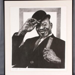 Sonny Boy Williamson Charcoal Artwork by Pittsburgh Artist George Gist From Original Teenie Harris Photo LE 6/500
