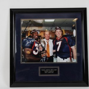 Broncos - John Elway & Terrell Davis Signed & Inscribed 15.5 x 19.5 Photo Display - COA