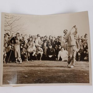 November 14, 1937 - John Montague Golf Debut on Original Wire News Photo with Babe Ruth Watching (Wide World Stamping)