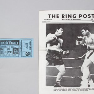 Muhammad Ali vs Rocky Marciano The Super Fight Official Program & Full Ticket Houston.Texas Jan 20.1970