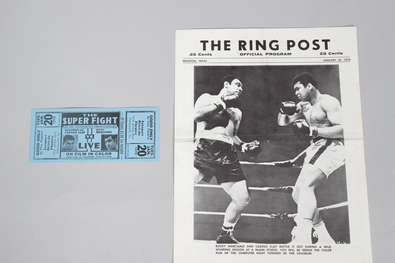 Muhammad Ali vs Rocky Marciano The Super Fight Official Program & Full Ticket Houston.Texas Jan 20.1970