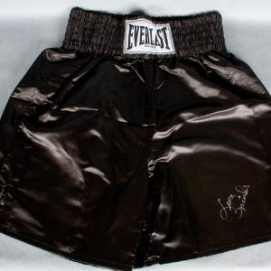 Leon Spinks Signed Black Everlast Boxing Trunks