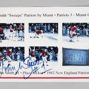 John Smith -New England Patriots- Signed Photo Card 5x7 Snow Kick - COA