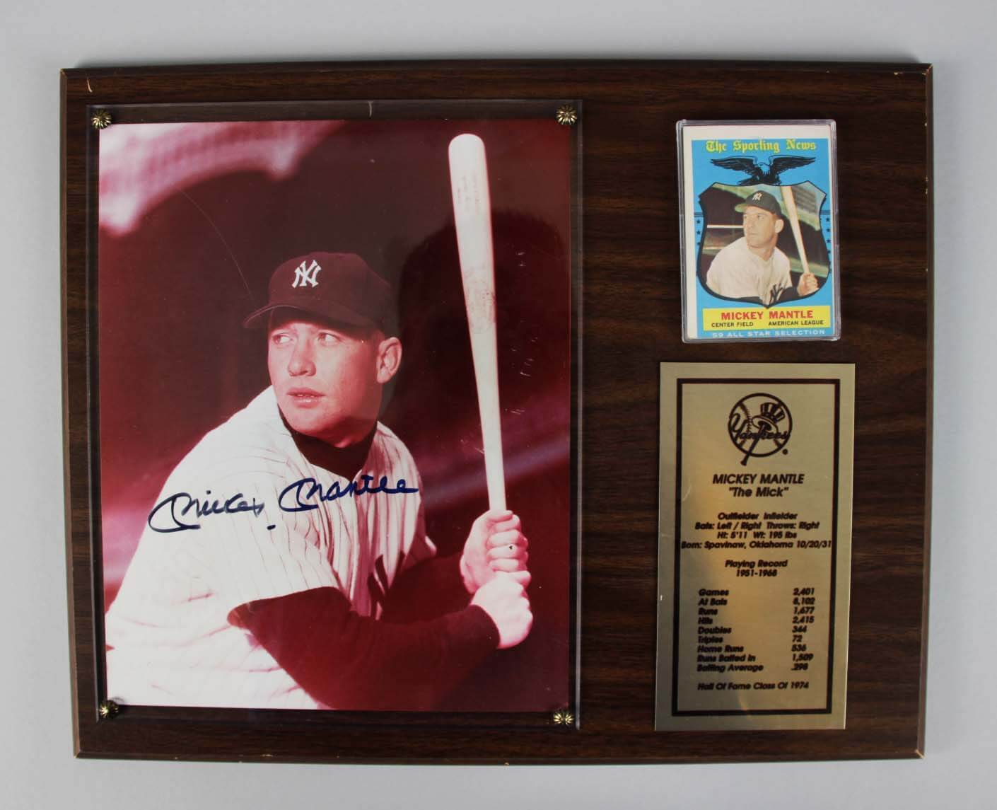 New York Yankees Mickey Mantle Signed Photo Display - COA