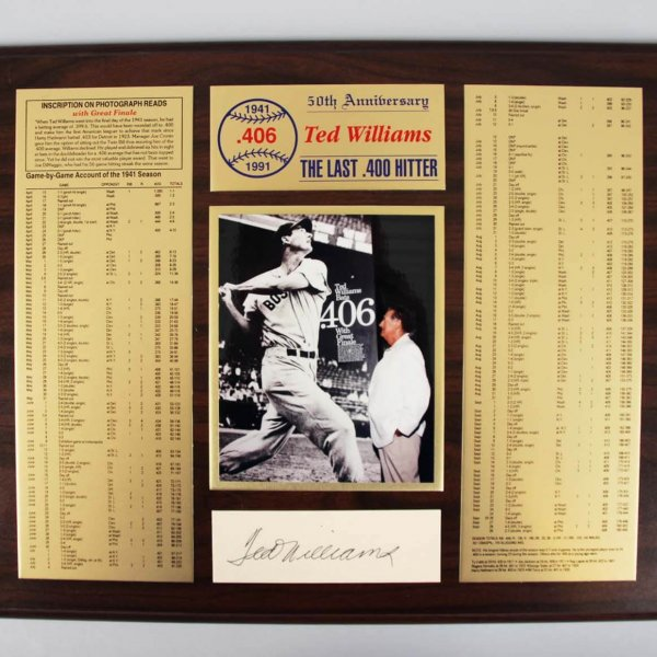 Boston Red Sox Ted Williams Signed Stat Sheet Displays - COA