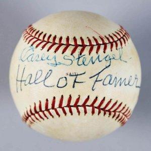 """New York Yankees - Casey Stengel Signed & Inscribed """"Hall of Fame"""" Baseball - JSA & PSA/DNA Full LOA"""