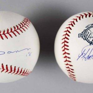 NY Yankees Jorge Posada & Johnny Damon Signed Baseballs - COA Steiner & MLB