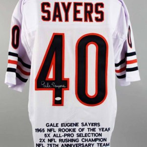 Chicago Bears Gale Sayers Signed White Stat Jersey - COA JSA