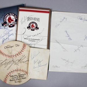 Boston Red Sox Signed Hall Of Fame Programs, Team Sheet,& Menu, Post Card