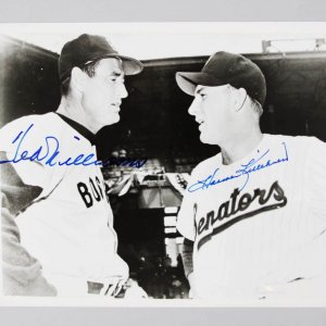 Ted Williams &  Harmon Killebrew Signed 8x10 B&W Photo - JSA