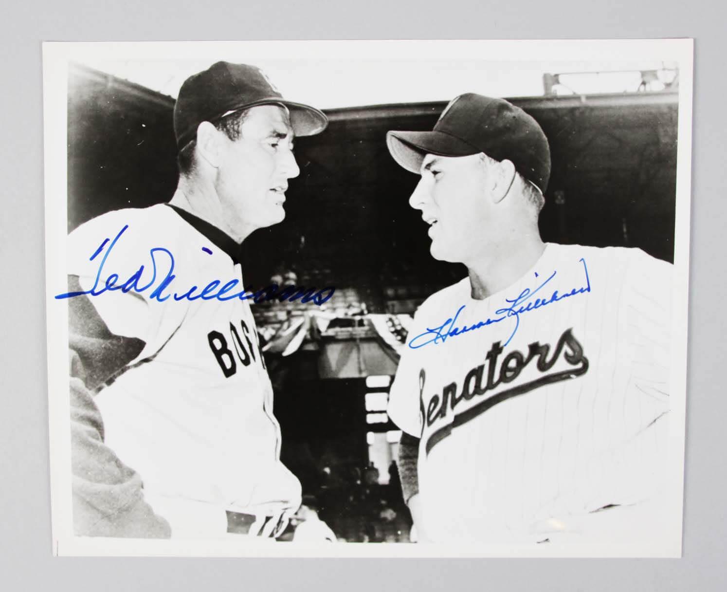 Ted Williams &  Harmon Killebrew Signed 8x10 B&W Photo - JSA