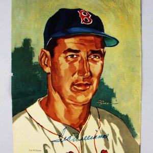 Boston Red Sox Ted Williams Signed Color 11x 14 Wilson Photo - JSA