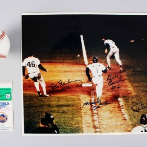 1986 Ny Mets World Series Ticket Stub Game 6 Signed Photo, & Baseball Buckner Mookie Wilson - JSA