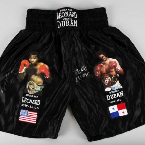 Sugar Ray Leonard & Roberto Duran Signed Boxing Trunks - COA JSA