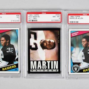 Los Angeles / Oakland Raiders PSA Graded Topps Card Lot (3) - Marcus Allen & Rod Martin