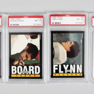 Green Bay Packers PSA Graded NM-MT 8 Topps Card Lot (4) - Tom Flynn, Dave Wilson etc.