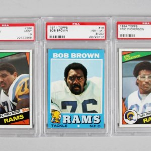 Los Angeles Rams PSA Graded Topps Card Lot (3) - Eric Dickerson, Jackie Slater Rookies & Bob Brown