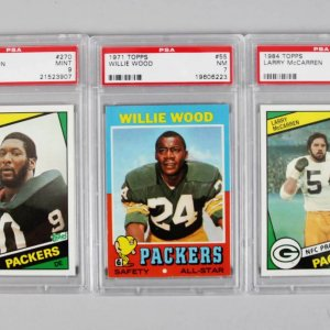 Green Bay Packers PSA Graded Topps Card Lot (3) - 1971 Willie Wood, 1984 McCarren & Johnson