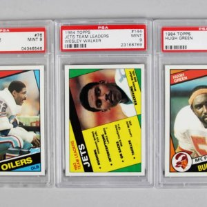 1984 Topps PSA Graded MINT 9 Football Card Lot - (3) Hugh Green, Wesley Walker & Rob Brazile