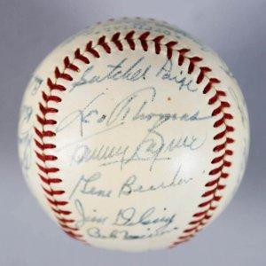 1952 St. Louis Browns Team-Signed OAL (Harridge) Baseball -18 Sigs. feat. Satchel Paige - JSA Full LOA