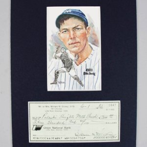 New York Yankees - Bill Dickey Signed Personal Check in 8x10 Matted Display - COA JSA